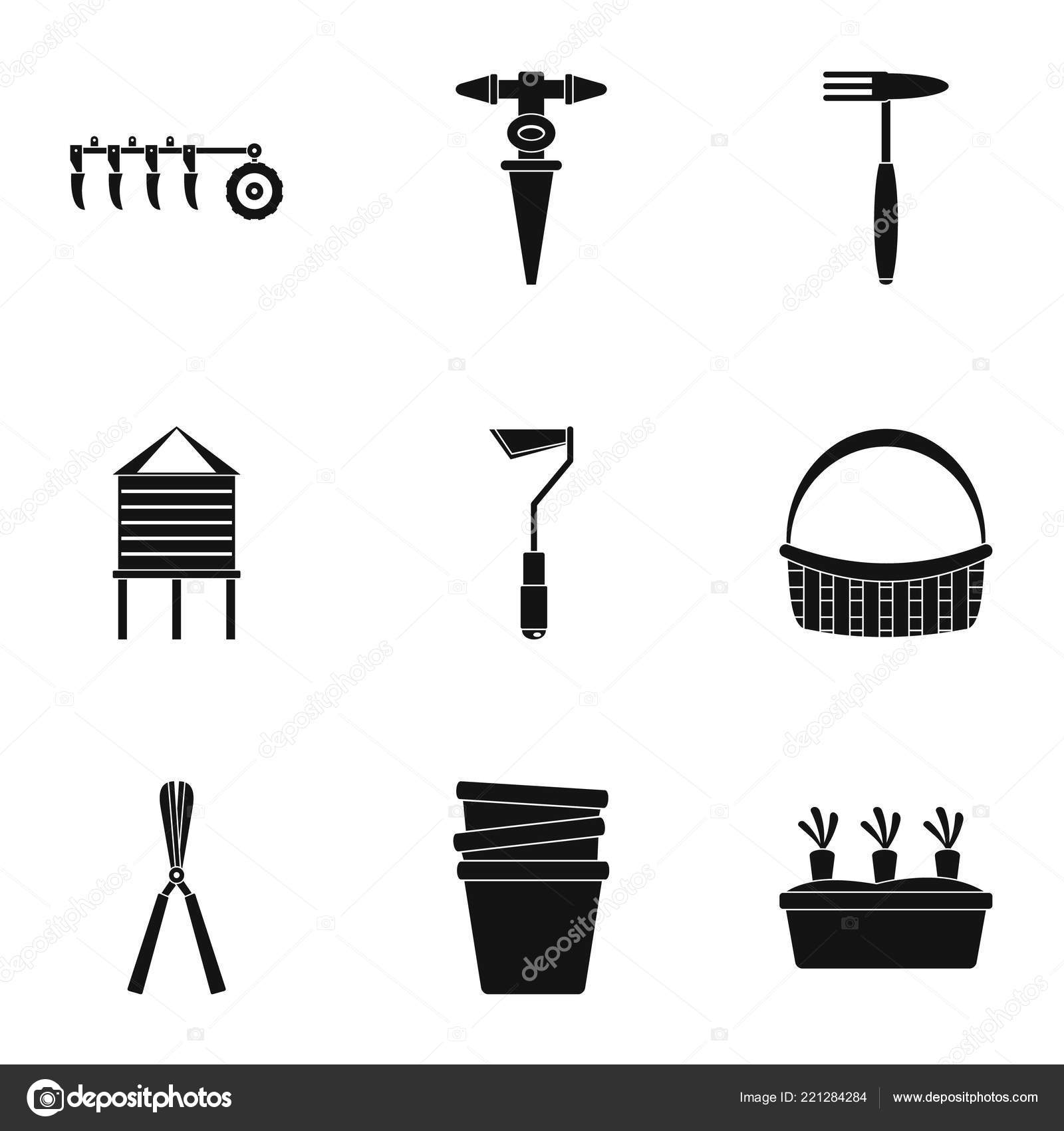 Outil de jardin jeu d\'icônes, style simple — Image ...