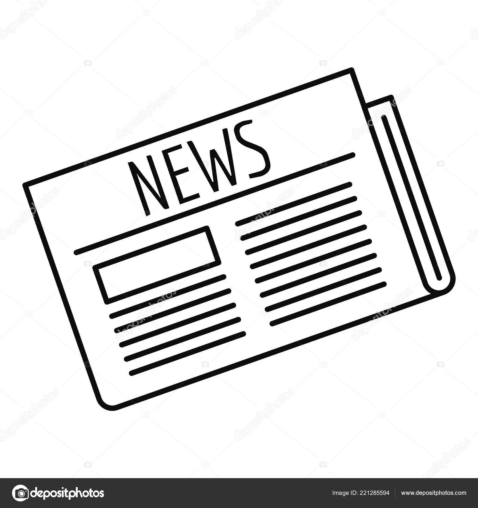 Newspaper Icon Outline Style Stock Vector