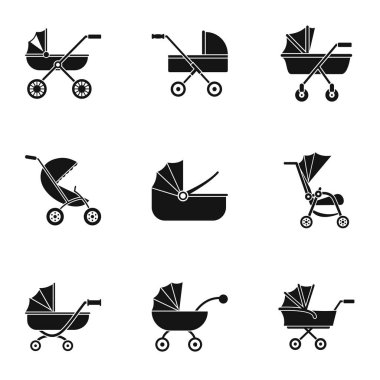 Baby stroller icon set, simple style