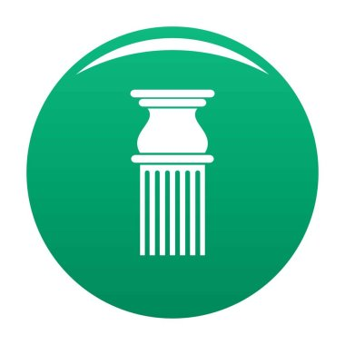 Classical column icon vector green