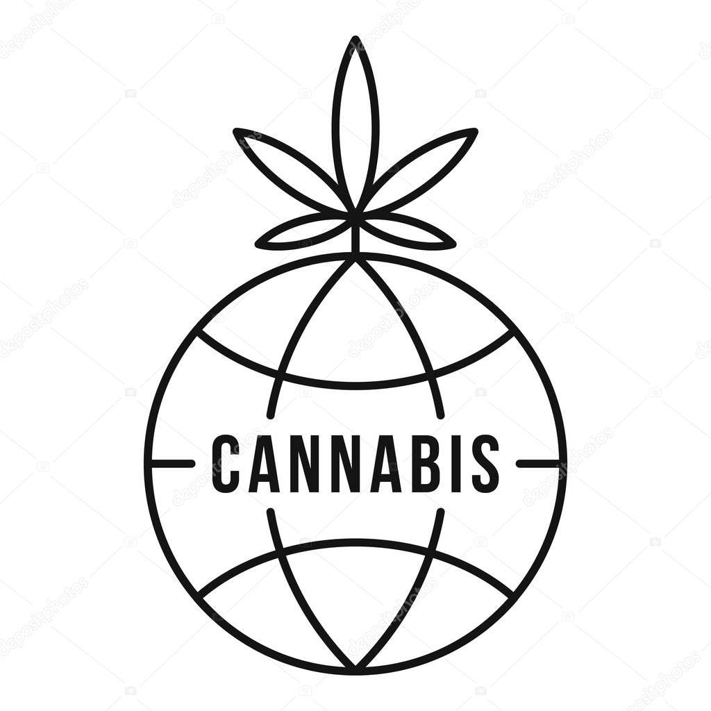 Global cannabis logo, outline style