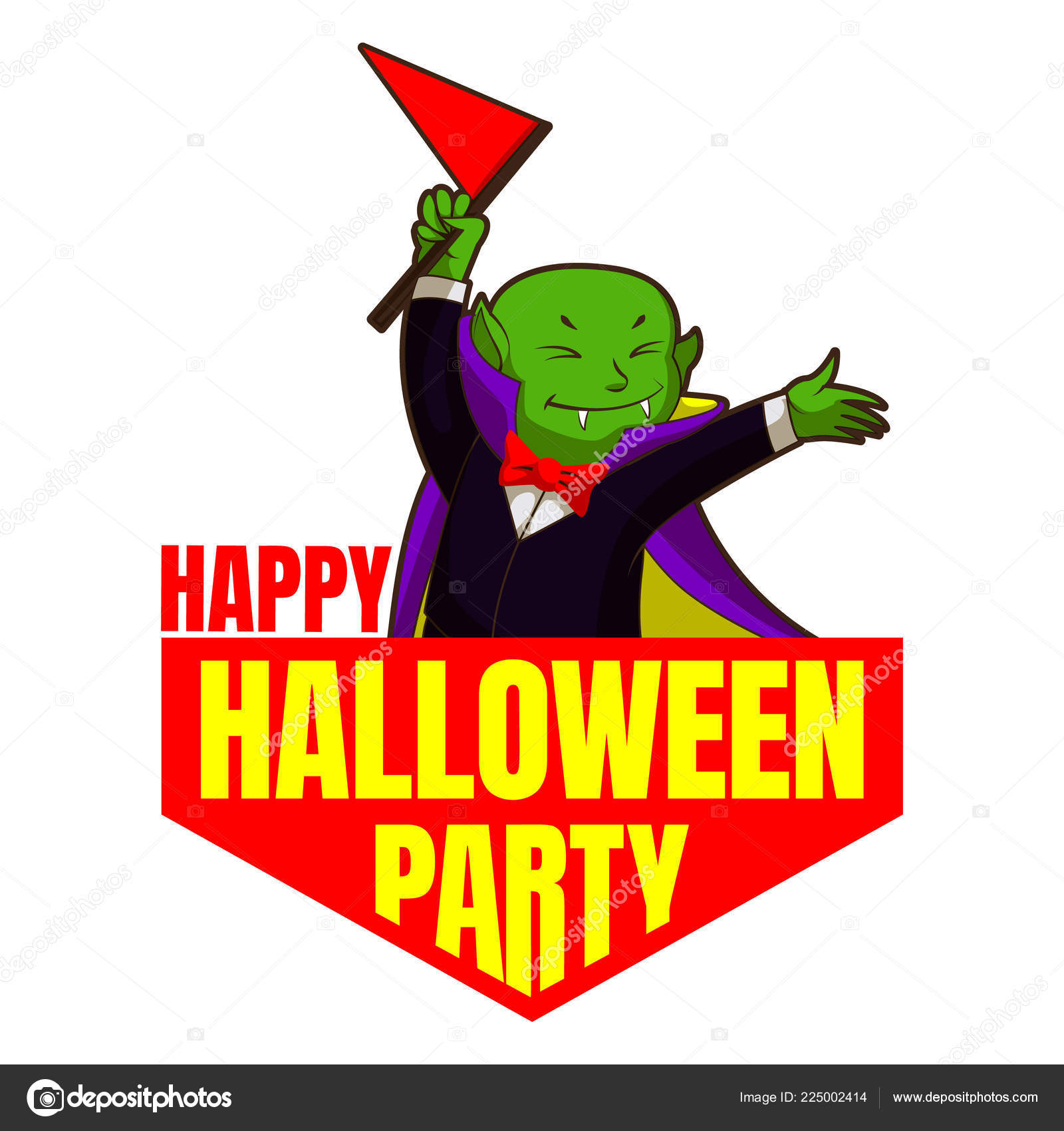 happy halloween party logo cartoon style stock vector anatolir