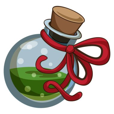 Green potion icon, cartoon style