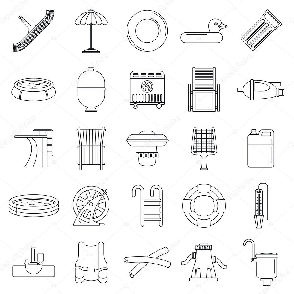 Swimming equipment icon set, outline style