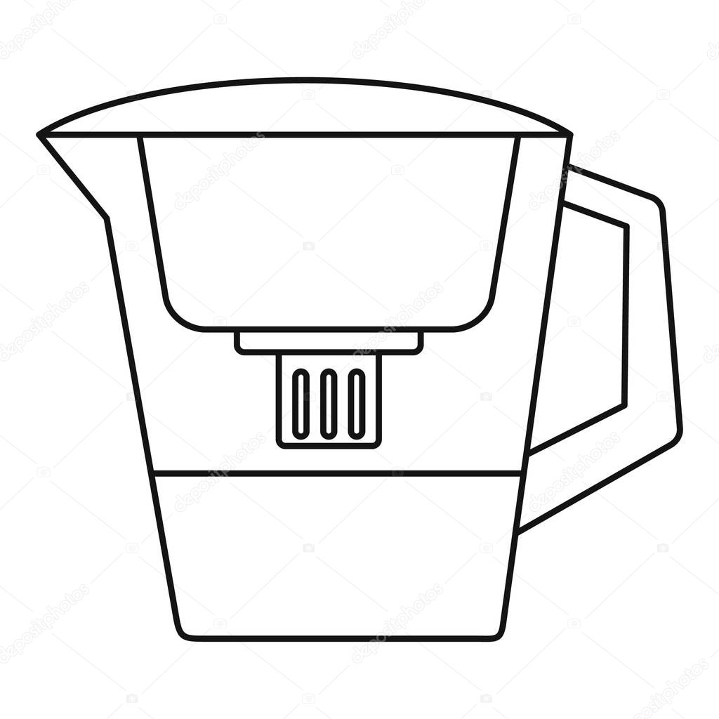 Filter water jug icon, outline style