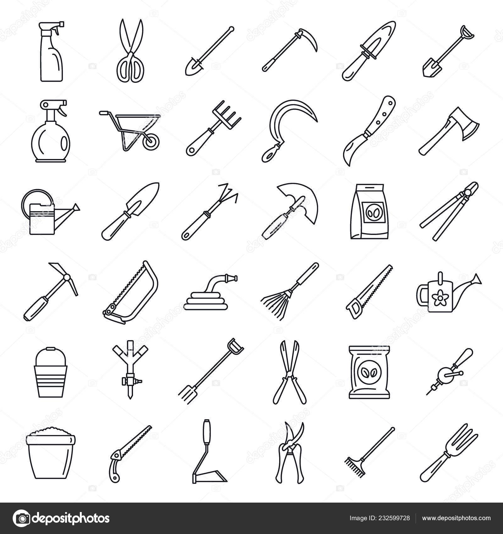 Outils de jardinage ferme jeu d\'icônes, style de contour ...