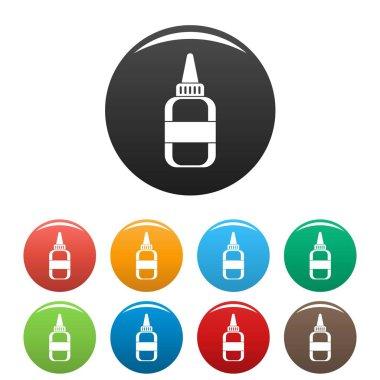 Water glue bottle icons set color