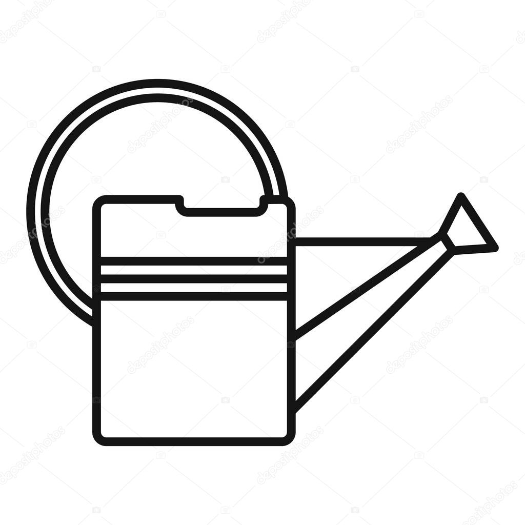 Metal watering can icon, outline style
