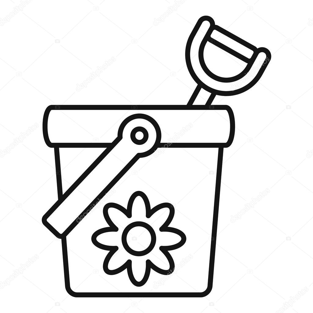 Toy bucket shovel icon, outline style