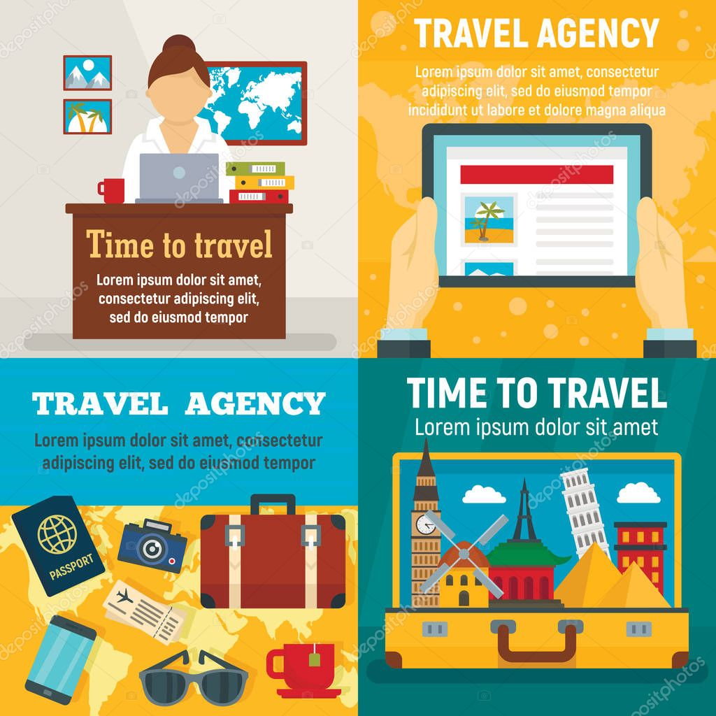 Agency travel banner set, flat style