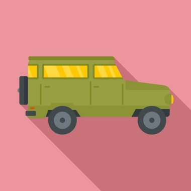 Hunting off road car icon, flat style