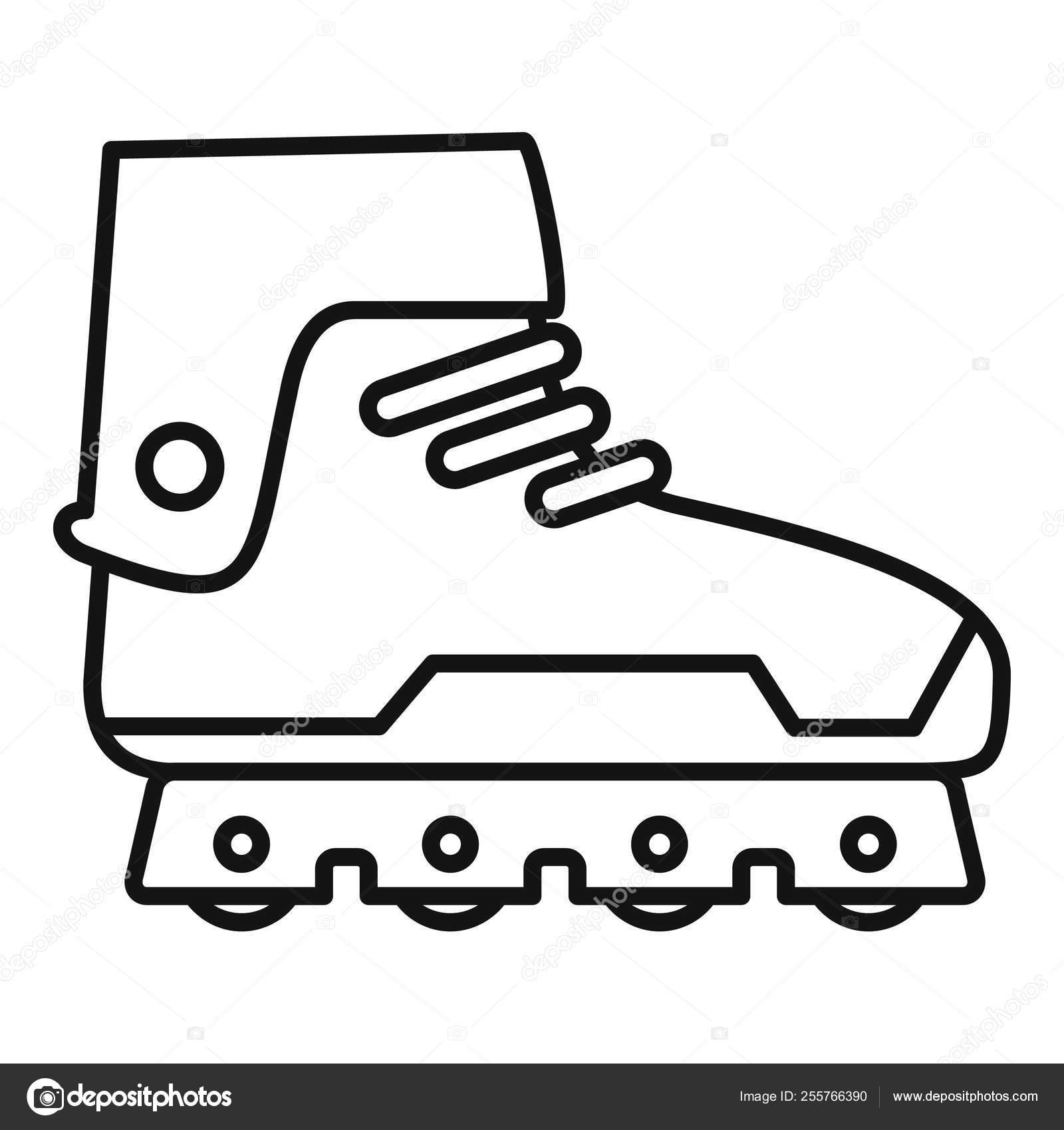 Professional inline skates icon, outline style — Stock