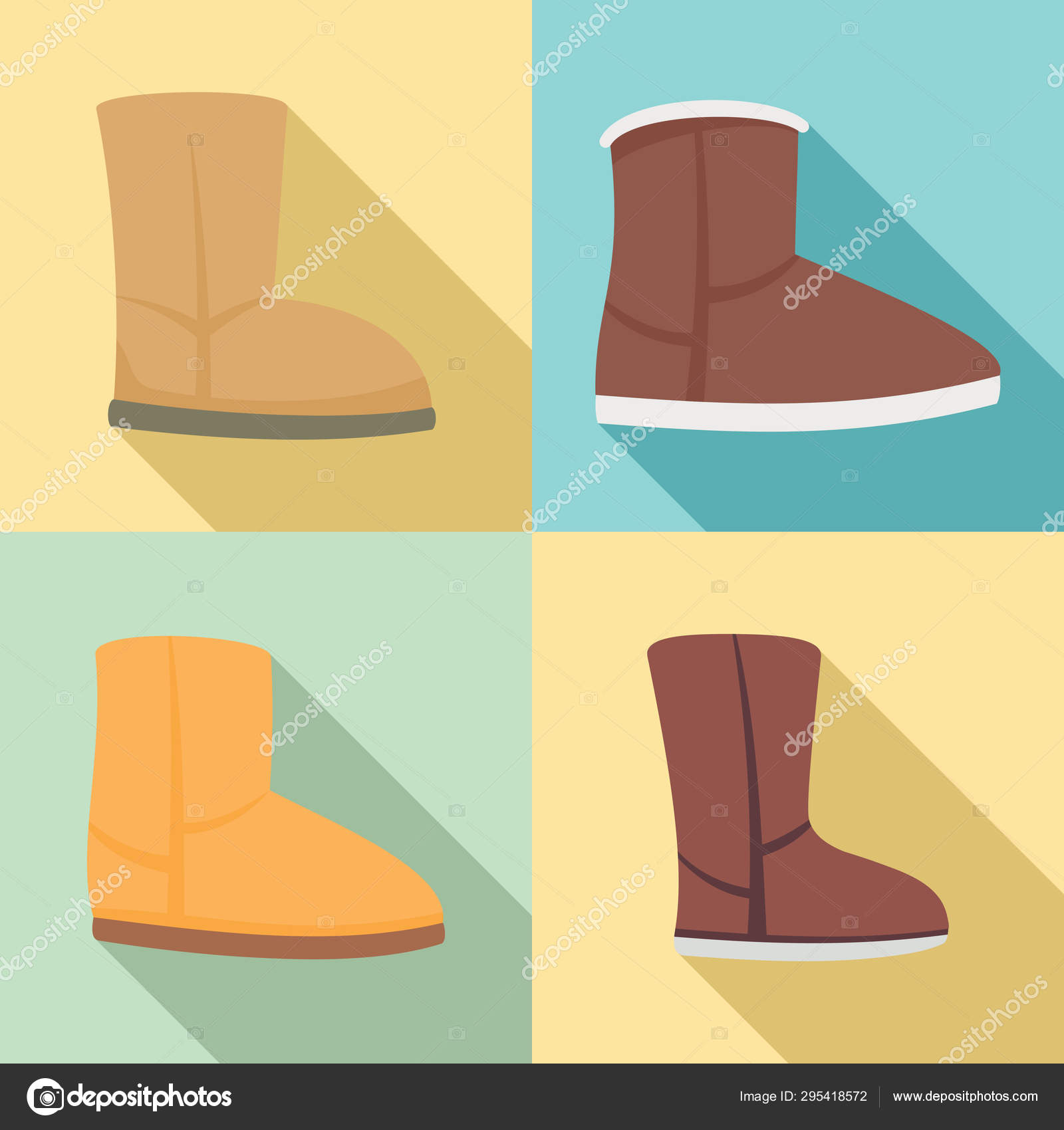9058412d167 Ugg boots icons set, flat style — Stock Vector © anatolir #295418572