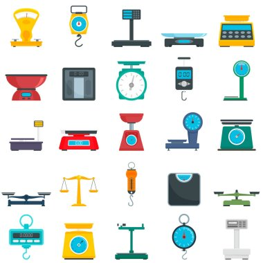 Weigh scales icons set, flat style