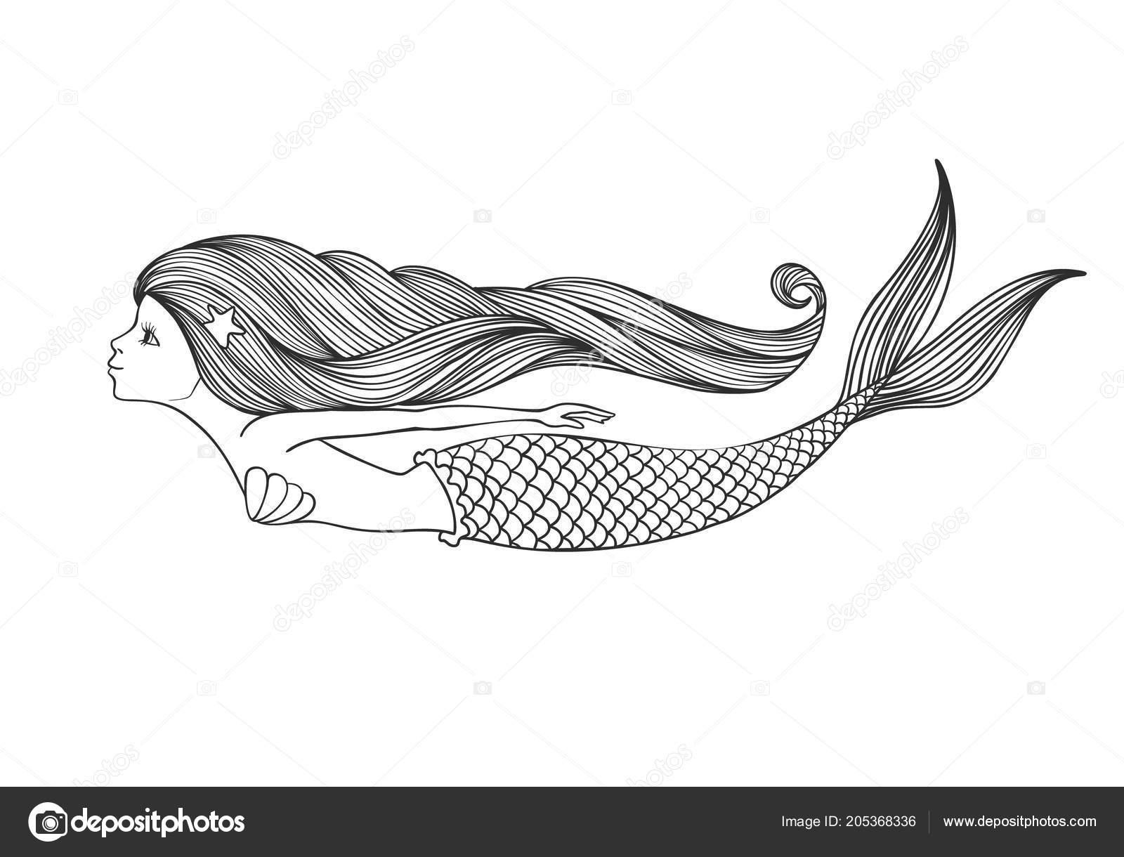 Coloriage Queue De Sirene.Fille Mignonne Lineaire Dessinee Main Sirene Pour Coloriages Isole