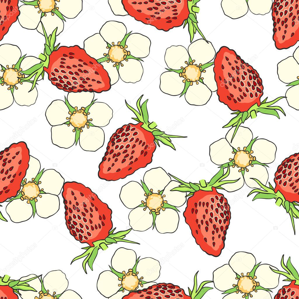 Hand drawn seamless pattern with strawberry isolated on white background. Design element for tea, natural cosmetics, juice, health care products, fabrics, textile. Vector illustration.