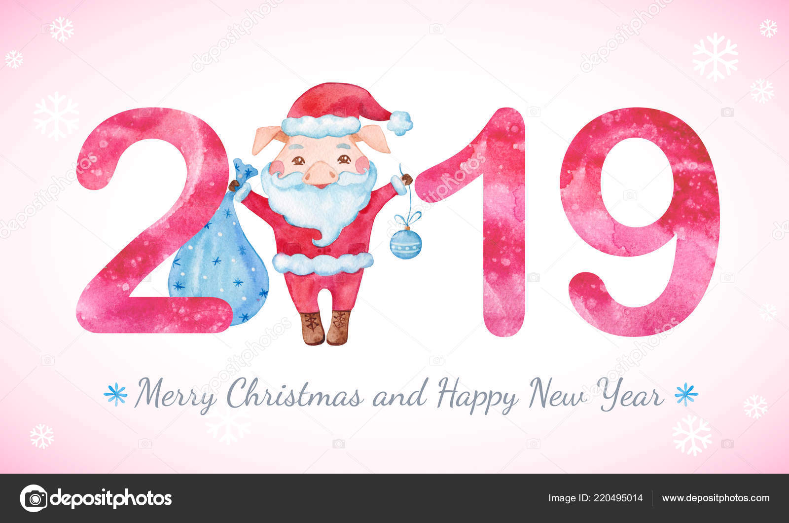 happy new year banner cute pig santa costume numbers greeting stock photo