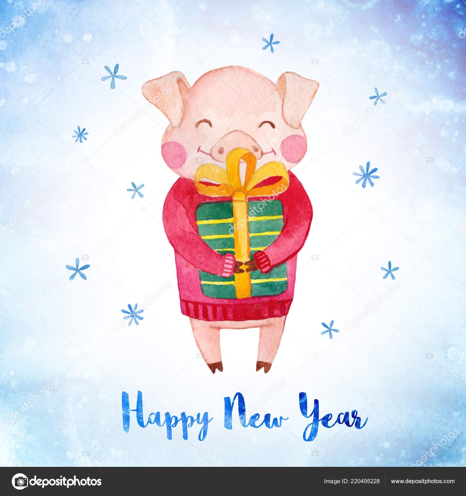Необычная открытка на новый год свиньи