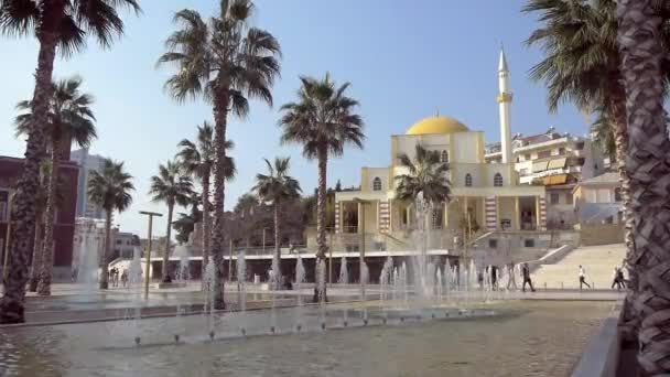 Fountain, Palms And Mosque In Albanian City