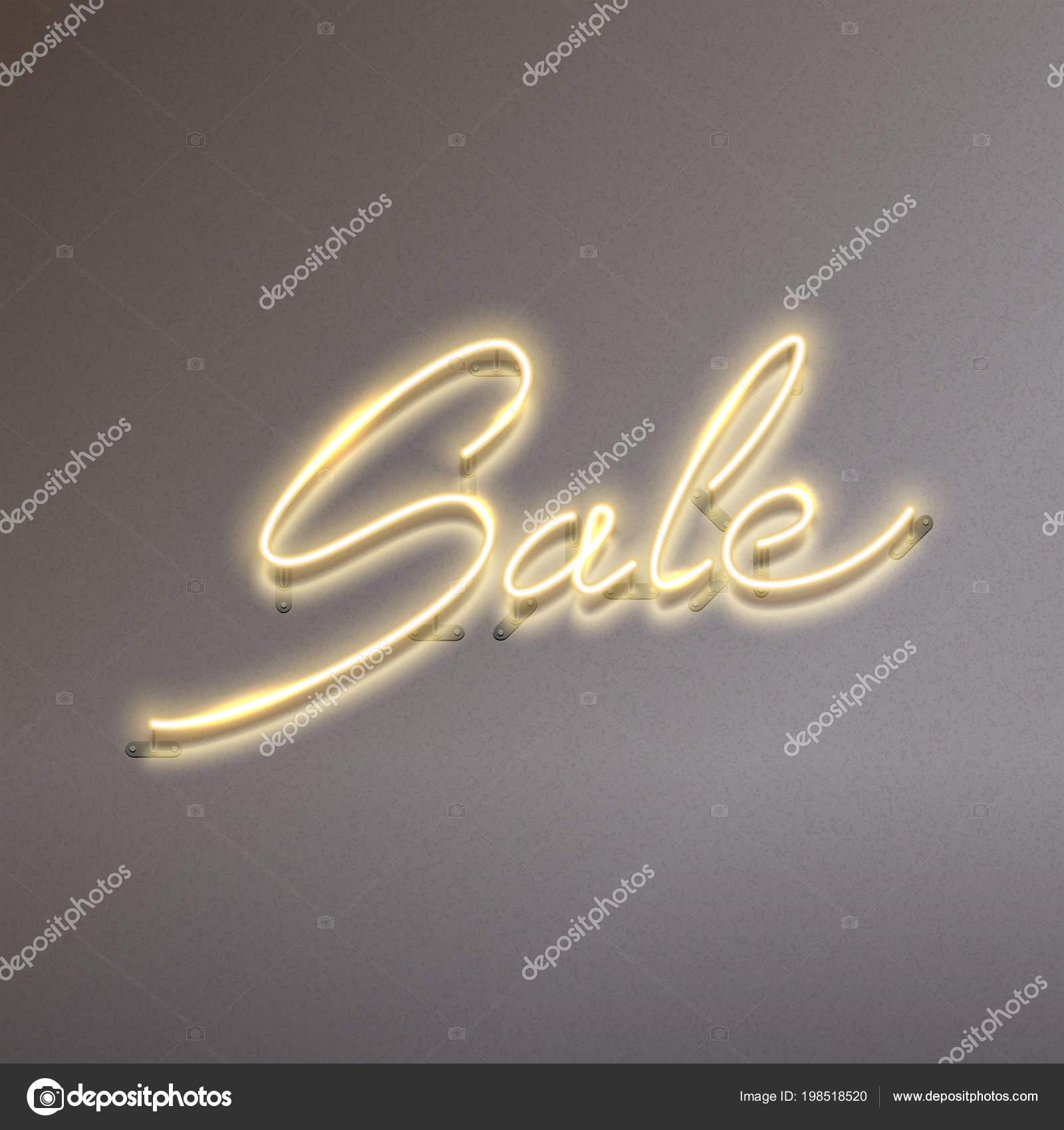Sale glowing neon sign on dark background
