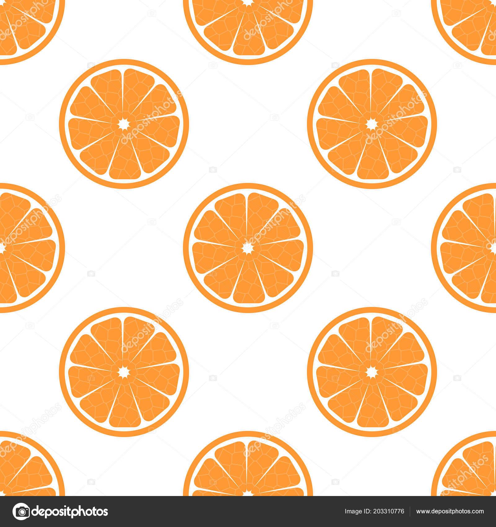Patrón Vector Transparente Fondo Naranja Fruta Texturas