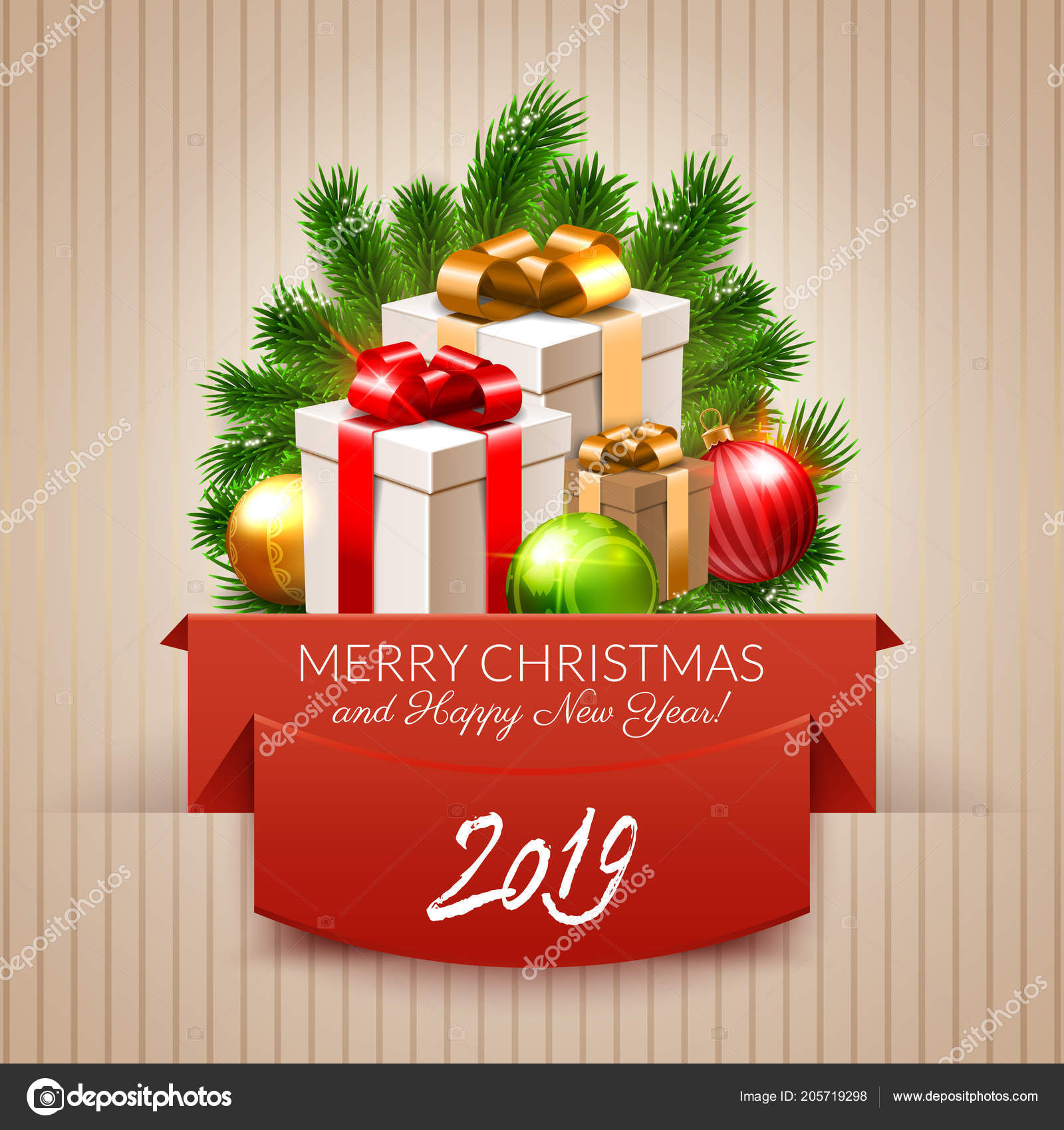 Merry Christmas Happy New Year 2019 Postcard Design Gifts Tree ...