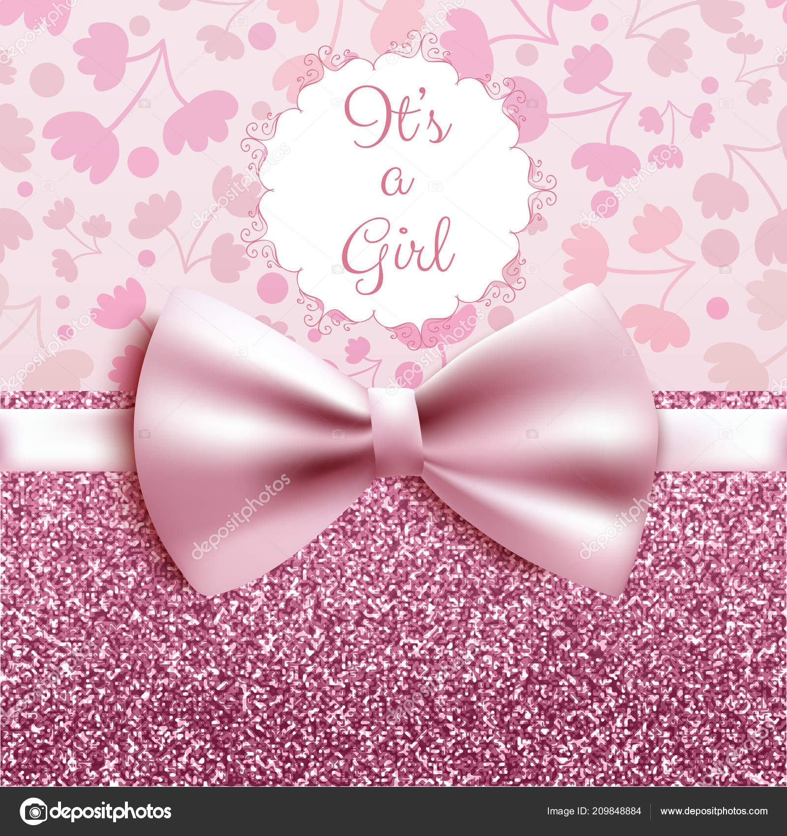 Girl baby shower cute card invitation pink bow vector illustration girl baby shower cute card invitation pink bow vector illustration vetores de stock stopboris Images