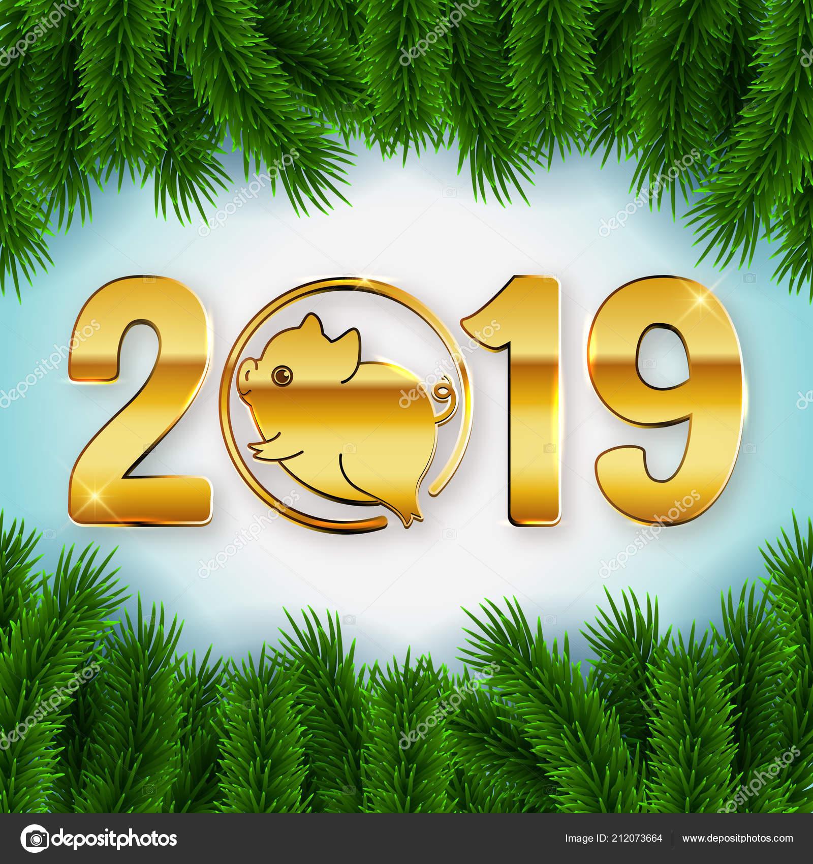 Nouvel 2019 Texte Présentant Icône Mignon Petit Cochon