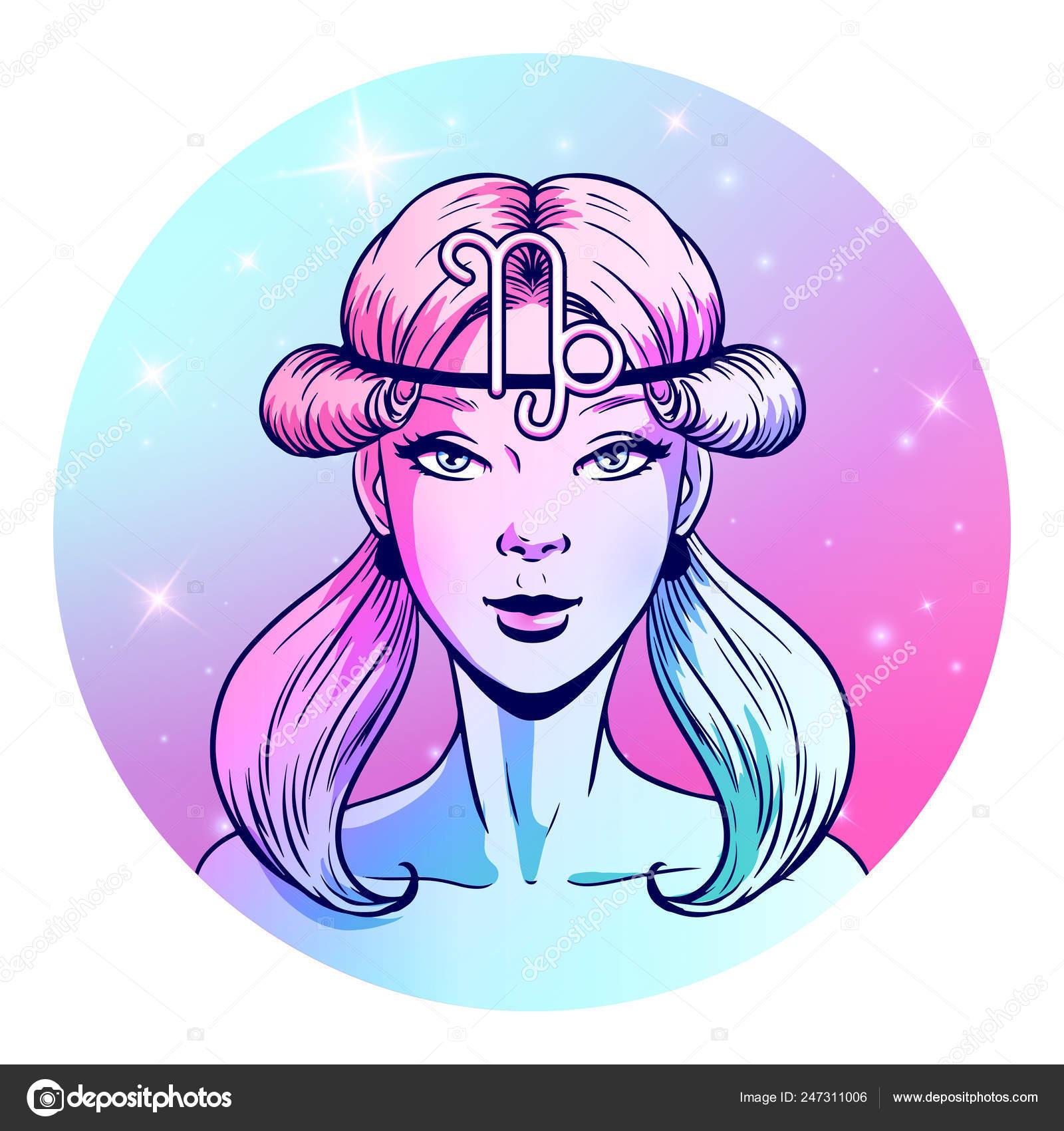 Capricorn Zodiac Sign Artwork Beautiful Girl Face Horoscope