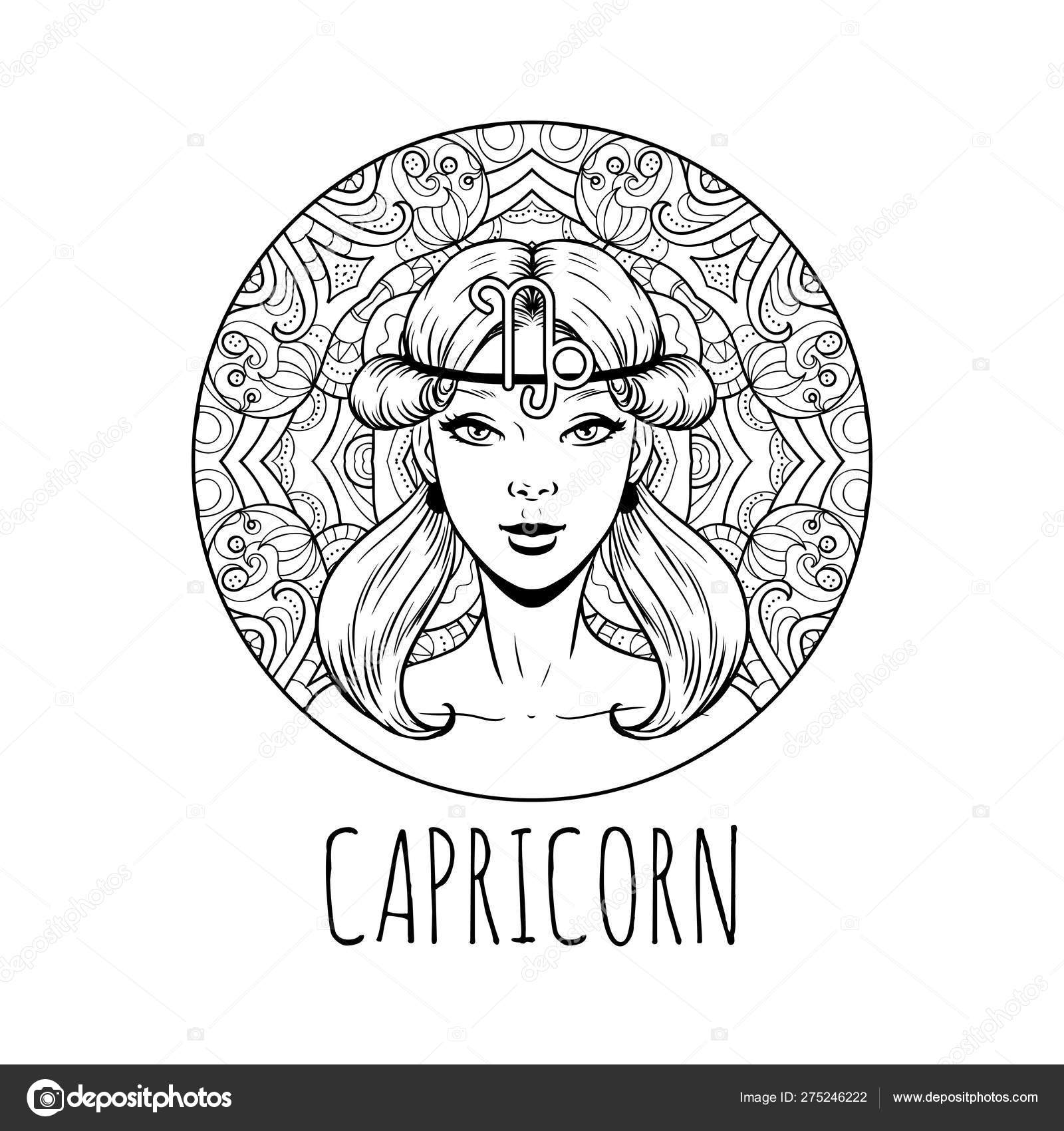 Capricorn Zodiac Sign Artwork Adult Coloring Book Page Beautif Vector Image By C Littlepaw Vector Stock 275246222