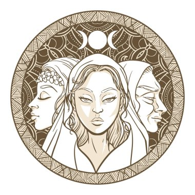 Triple goddess as Maiden, Mother and Crone, beautiful woman, sym