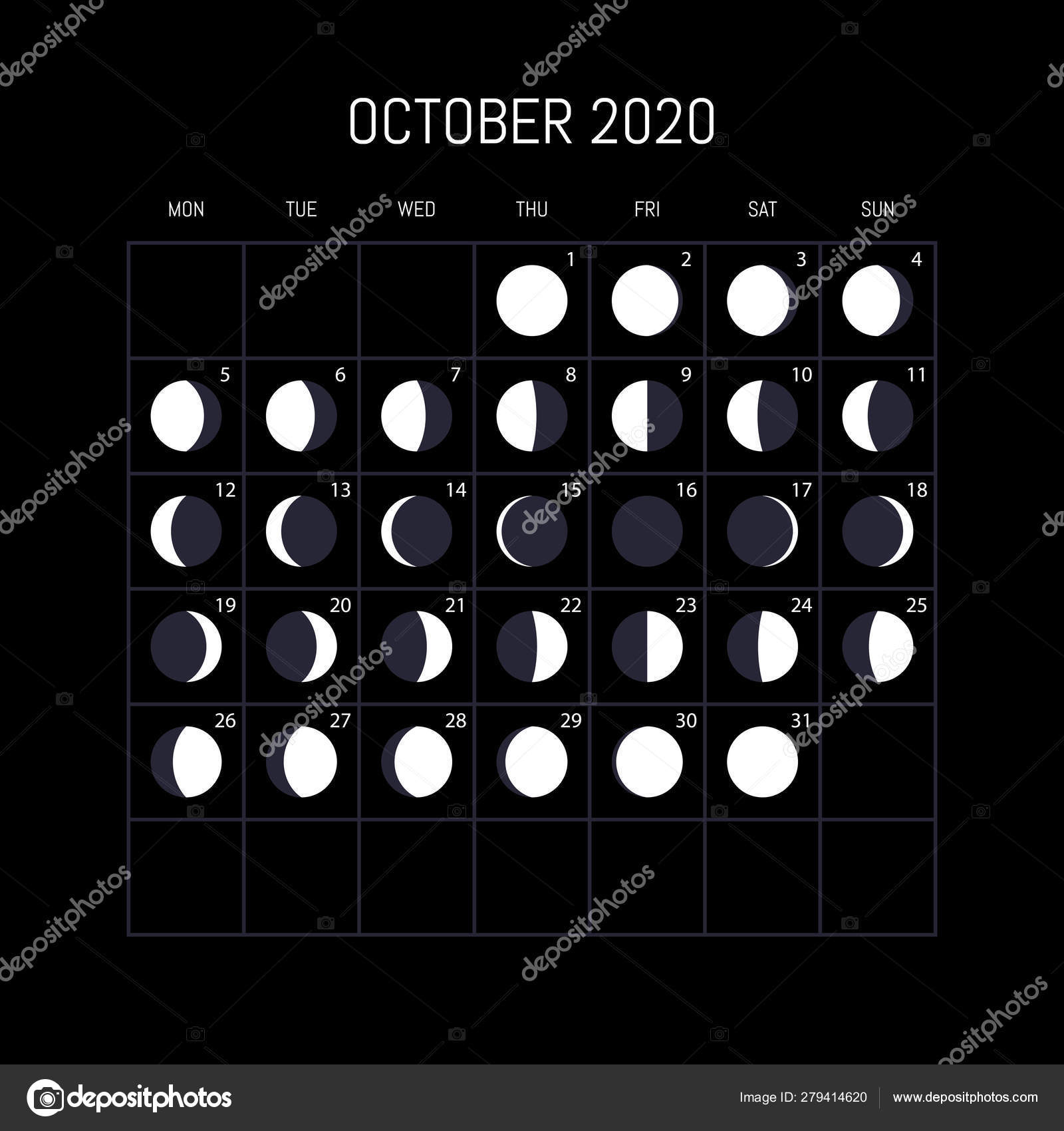 Moon Phase Calendar October 2020 Moon phases calendar for 2020 year. October. Night background de