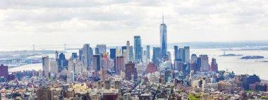 MANHATTAN, NEW YORK CITY. Manhattan skyline and skyscrapers aerial view. New York City, USA