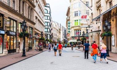 BUDAPEST, HUNGARY - JULY 21, 2017: Tourists and visitors on the famous Vaci Street (Vaci Utca), the main shopping street in Budapest, Hungary.