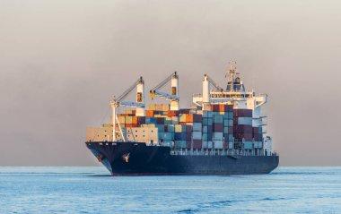 Cargo container ship on Istanbul Bosphorus, Turkey stock vector