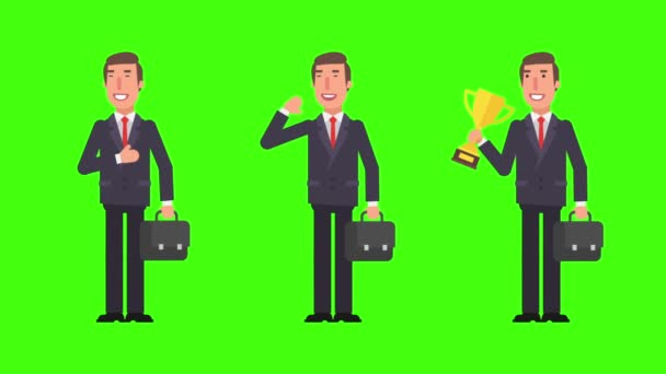 Geschäftsmann grüßt winkende Hand. hält Goldpokal. Koffer. Grüner Hintergrund. Bewegungsgrafik. Animationsvideo.