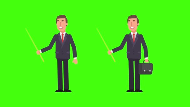 Businessman holding pointer and pointing. Holds suitcase. Green background. Motion Graphics. Animation Video.