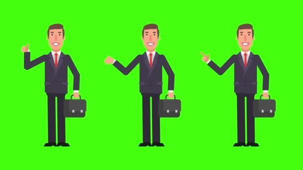 Podnikatel ukazuje a ukazuje prstem. Ukazuje palec. Kufr pojme. Zelené pozadí. Motion grafika. Video animace