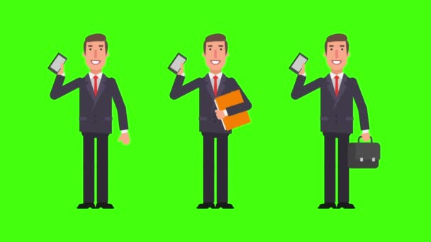 Businessman holding mobile phone folder and suitcase. Alpha channel. Motion graphics. Animation video.