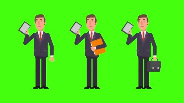 Podnikatel, držení tabletu složky a soubory. Alfa kanál. Motion grafika. Video animace.