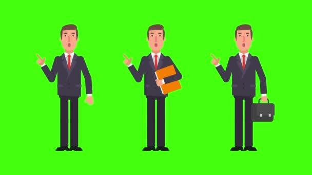 Podnikatel body prstem hospodářství složky a soubory. Alfa kanál. Motion grafika. Video animace.