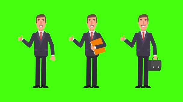 Podnikatel ukazují palce podržením složky a soubory. Alfa kanál. Motion grafika. Video animace.