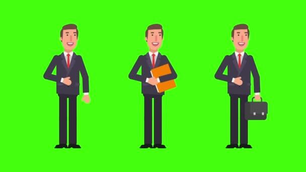 Podnikatel mluví hospodářství složky a soubory. Alfa kanál. Motion grafika. Video animace.
