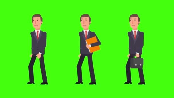 Podnikatel, chůzi hospodářství složky a soubory. Alfa kanál. Motion grafika. Video animace.