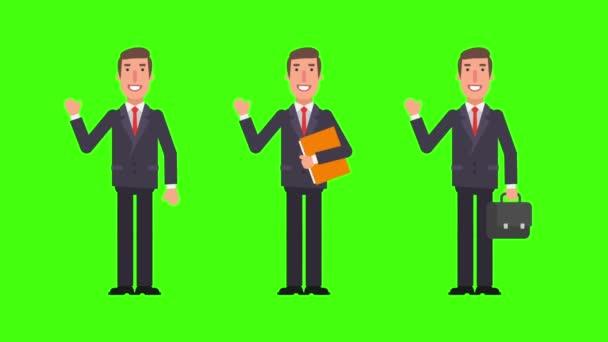 Podnikatel vítá hospodářství složky a soubory. Alfa kanál. Motion grafika. Video animace.