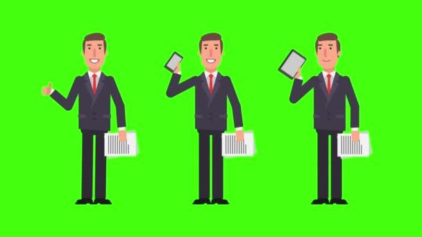 Podnikatel hospodářství dokumenty telefon tablet a ukazuje palec. Zelené pozadí. Motion grafika. Video animace.