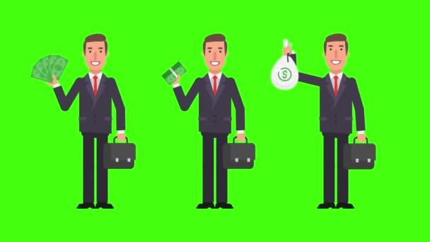 Podnikatel, drží peníze kufr a usmívá se. Zelené pozadí. Motion grafika. Video animace.