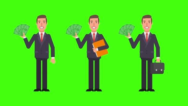 Geschäftsmann mit Geldmappe und Koffer. Grüner Hintergrund. Bewegungsgrafik. Animationsvideo.