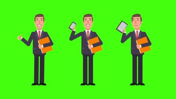 Podnikatel drží složku tablet telefon a ukazuje palec nahoru. Zelené pozadí. Motion grafika. Video animace.