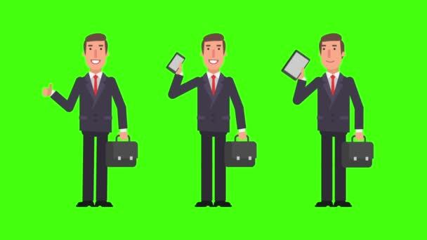 Podnikatel drží kufr telefon tablet a ukazuje palec nahoru. Zelené pozadí. Motion grafika. Video animace.